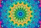 Yellow, Green, and Blue Tropical Mandala by JanusianGallery