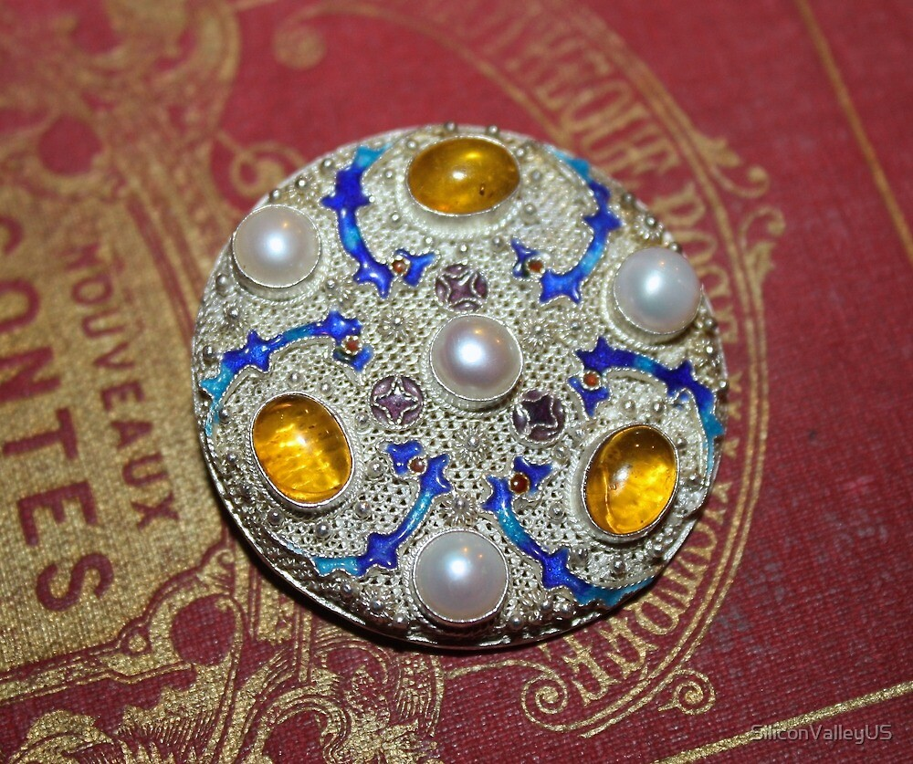 Antique Chinese Silver Brooch by SiliconValleyUS