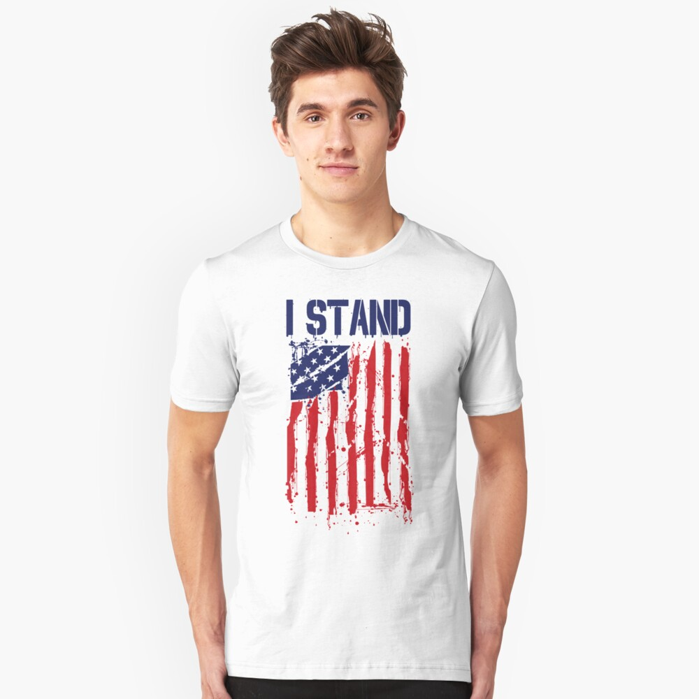 I Stand I Don't Kneel Shirt American Flag Stand For Anthem Unisex T-Shirt Front