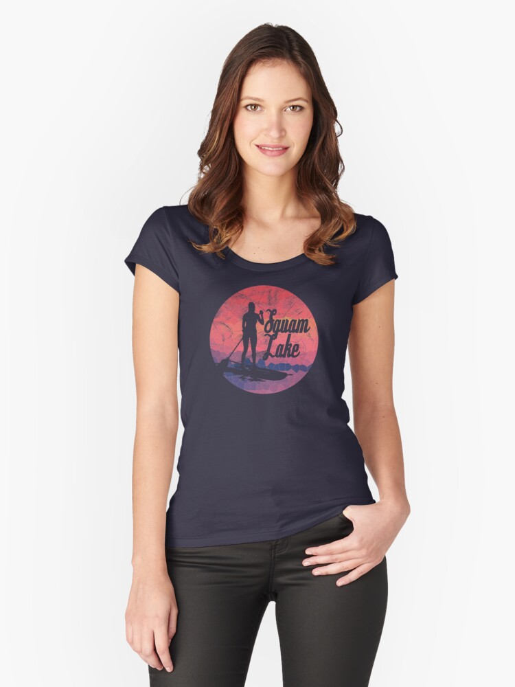 Squam Lake Paddleboard T-Shirt Women's Fitted Scoop T-Shirt Front