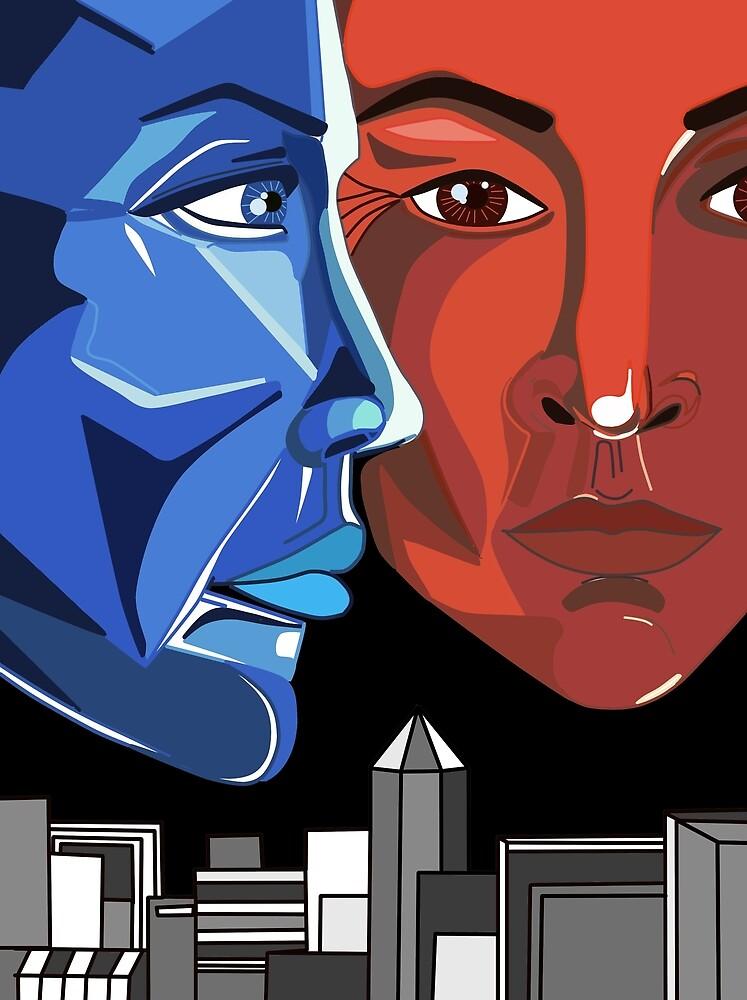 Graphics, portrait, jealousy, red, blue, confrontation, contrast by Iuliia Tarabanova