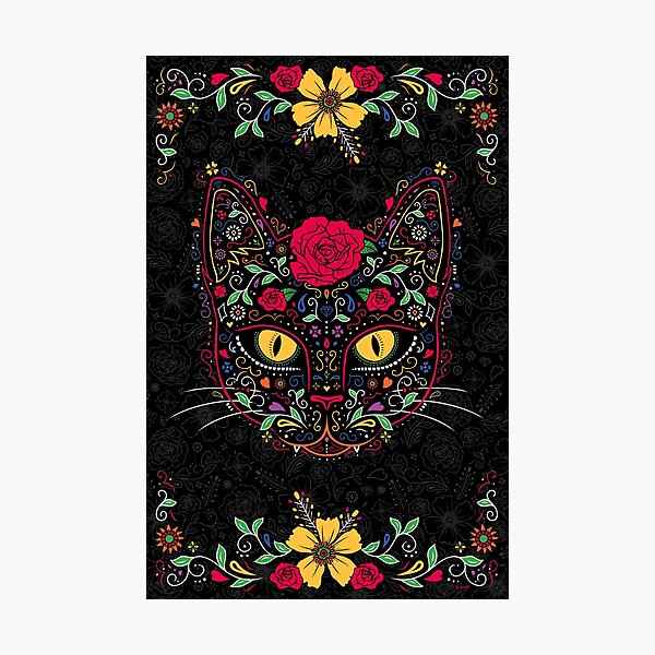 Day of the Dead Kitty Cat Sugar Skull Photographic Print