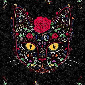 Tag der Toten Kitty Cat Sugar Skull von dinafiala