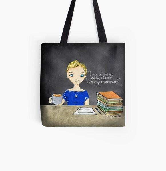 Teacher Coffee 5 All Over Print Tote Bag