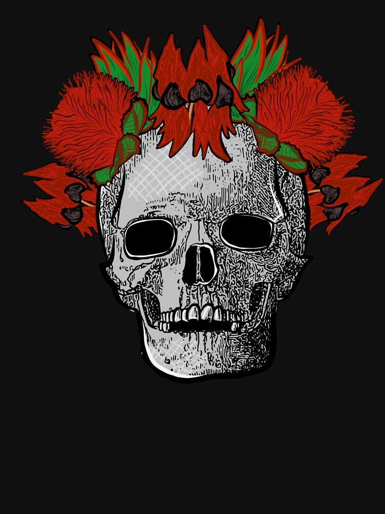 Native Australian Flower Crown on Skull - Sturt Desert Pea with Banksia Flowers - CreateArtHistory by annaleebeer