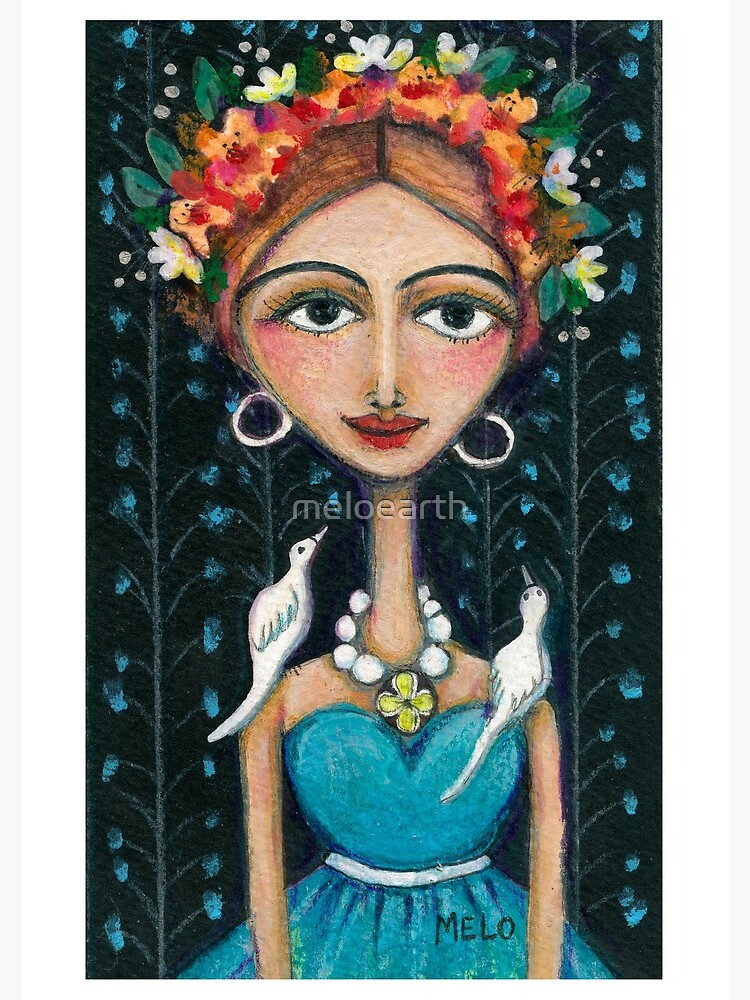 Frida Kahlo with Birds in Blue Dress by meloearth
