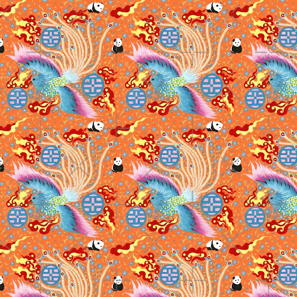 Phoenix and Pandas in Flames by ninahuangstudio