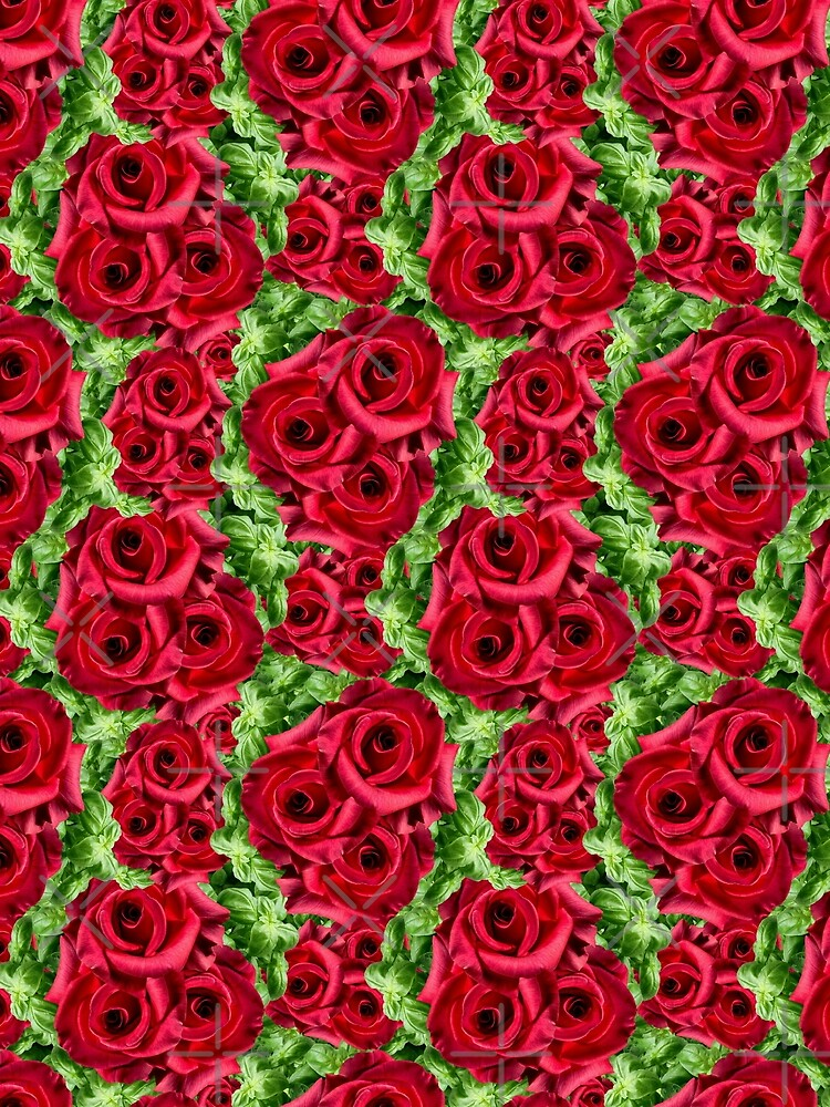 Red Rose Garden Crimson Flowers Floral Botanical Photo Print Pattern by Saburkitty