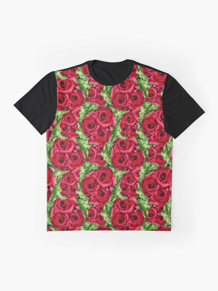 Alternate view of Red Rose Garden Crimson Flowers Floral Botanical Photo Print Pattern Graphic T-Shirt