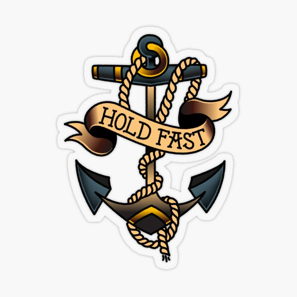 American Traditional Hold Fast Anchor Transparent Sticker