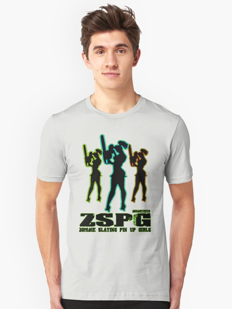 Zombie Slaying  Pin-up Girls Unisex T-Shirt Front