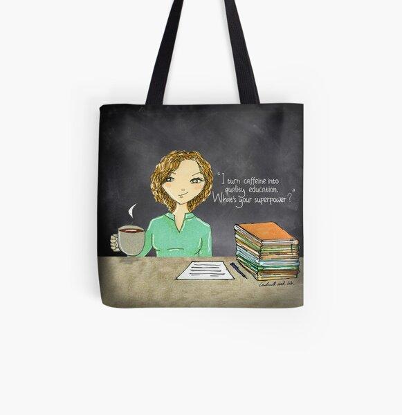 Teacher Coffee 6 All Over Print Tote Bag