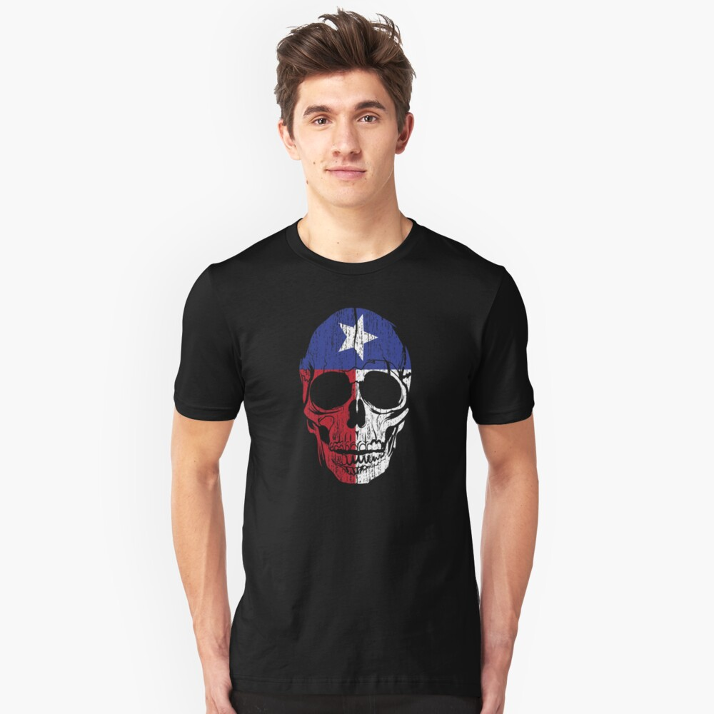 Red White and Blue Texas Flag Skull Lone Star State  Unisex T-Shirt Front