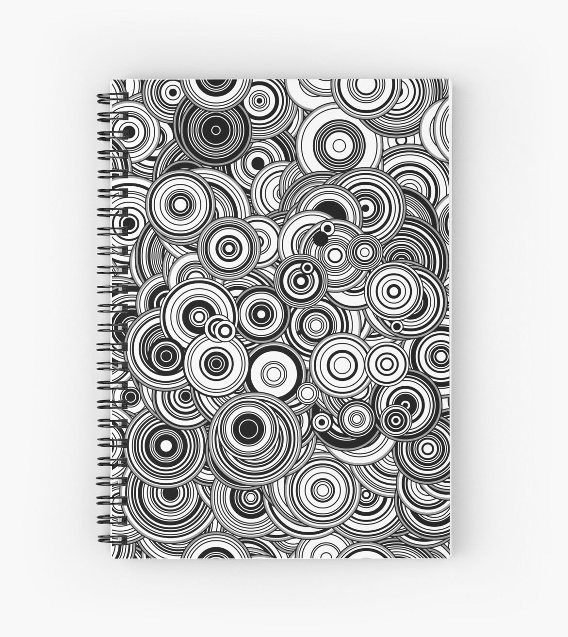 Genertive Art Particle Circles, Black and White by KristinHenry