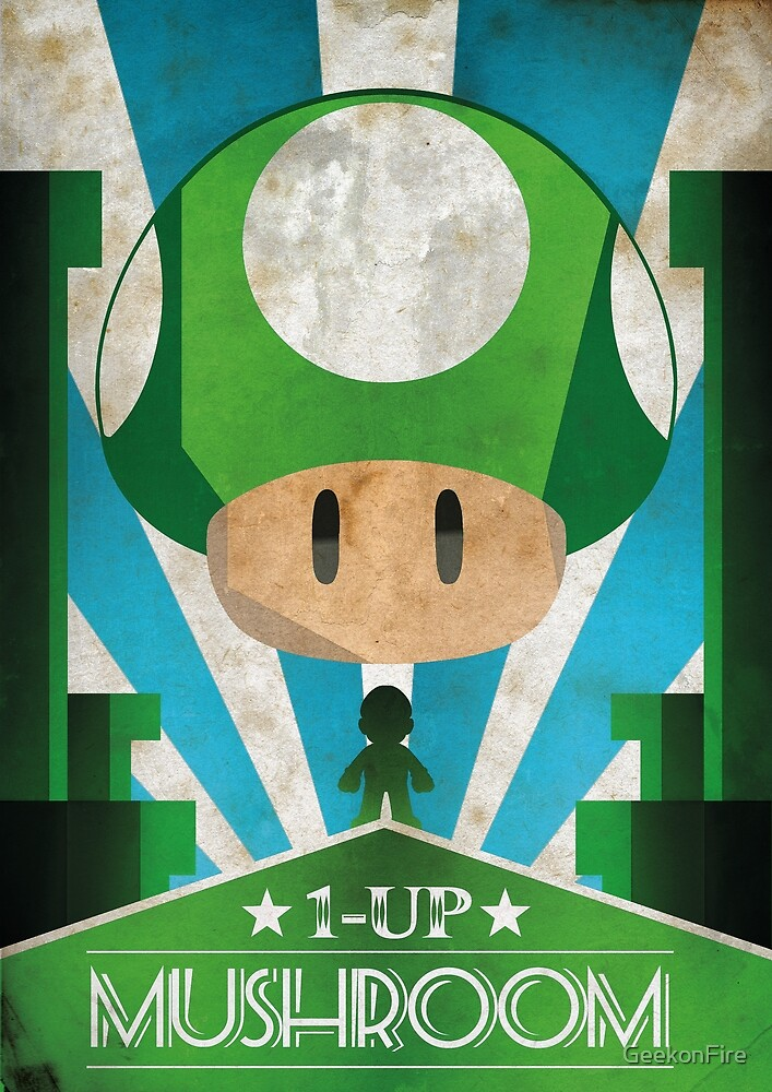 Mario 1up Mushroom - Art Deco by GeekonFire