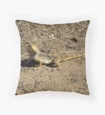 Our friendly wildlife. A Bearded Dragon! at 'Arilka', Mt. Pleasant. S.Aust. Throw Pillow