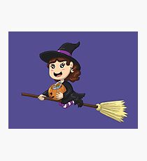 Trick or Treating Little Witch Girl Photographic Print
