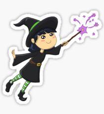 Little Witch Girl Sparkle Spell Sticker
