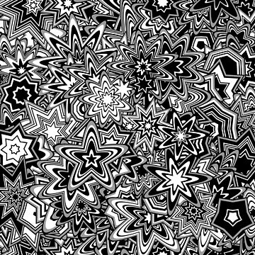 Particle Stars and Flowers, Black and White by KristinHenry