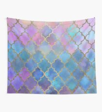 Colorful Watercolor Moroccan Pattern - gold Wall Tapestry