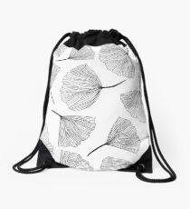 Fantasy flowers black and white. Drawstring Bag