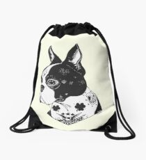 Tattooed Boston Terrier  Drawstring Bag