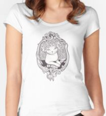 Art Deco Cat With Flowers Women's Fitted Scoop T-Shirt