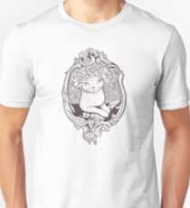 Art Deco Cat With Flowers T-Shirt