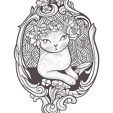 Art Deco gato con flores de runcatrun