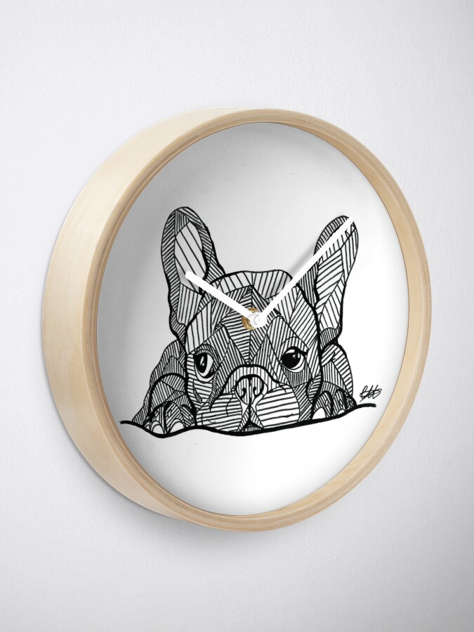 Alternate view of French Bulldog Puppy Clock