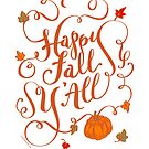 Happy Fall Y'All Pumpkin Vines Hand Lettering Design by DoubleBrush