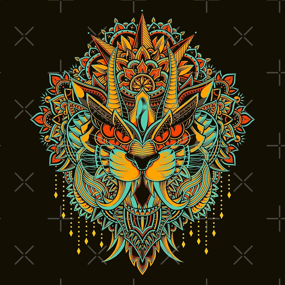 Tiger mandala colored version by godzillarge redbubble - Mandalas de tigres ...