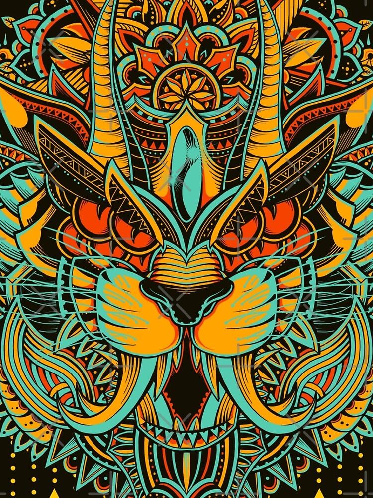 Tiger Mandala (Colored Version) by GODZILLARGE