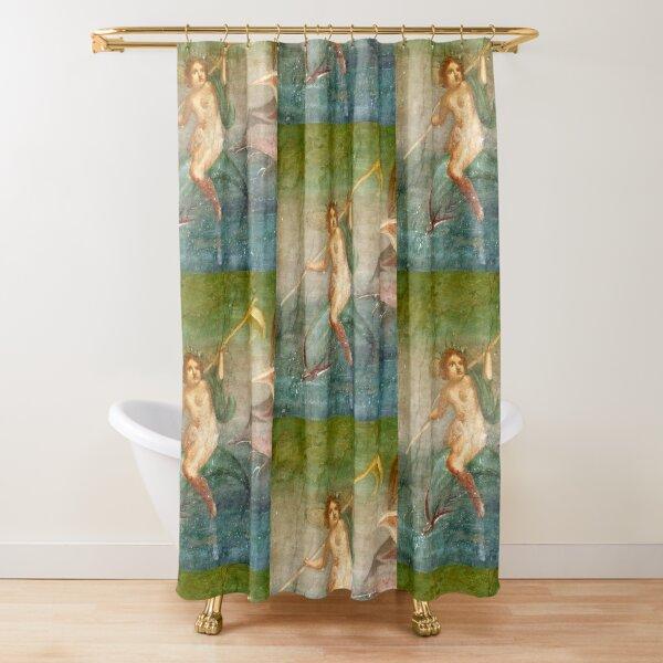 Boy Nymph. Naked, Riding Dolphin, Fresco, Pompeii, Pompei. Shower Curtain