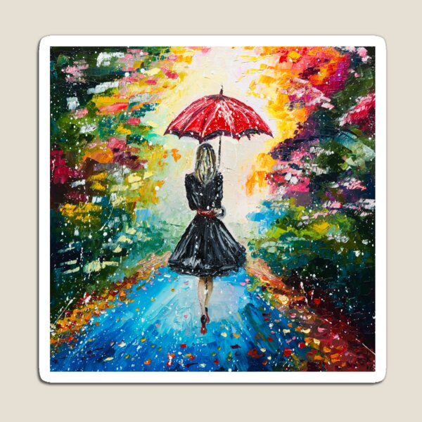 GIRL WITH A RED UMBRELLA Magnet