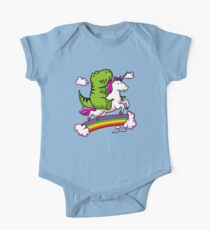 T-Rex Dinosaur Riding Unicorn Colorful Rainbow One Piece - Short Sleeve