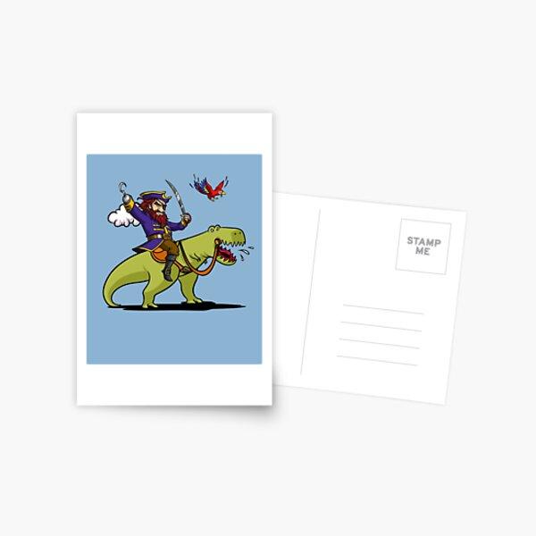 Pirate Riding T-Rex Dinosaur Funny Parrot Sailor Postcard