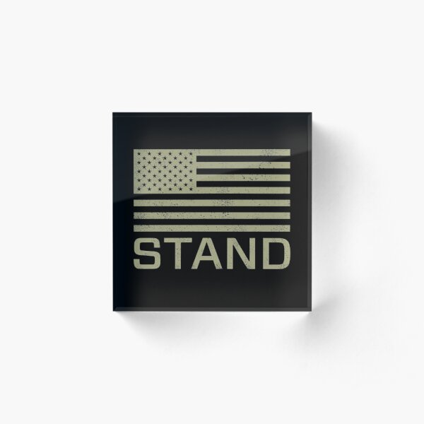 Stand - I Don't Kneel - Distressed US USA Flag Acrylic Block