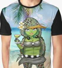 Sexy Turtle on Beach with Cocktail Graphic T-Shirt