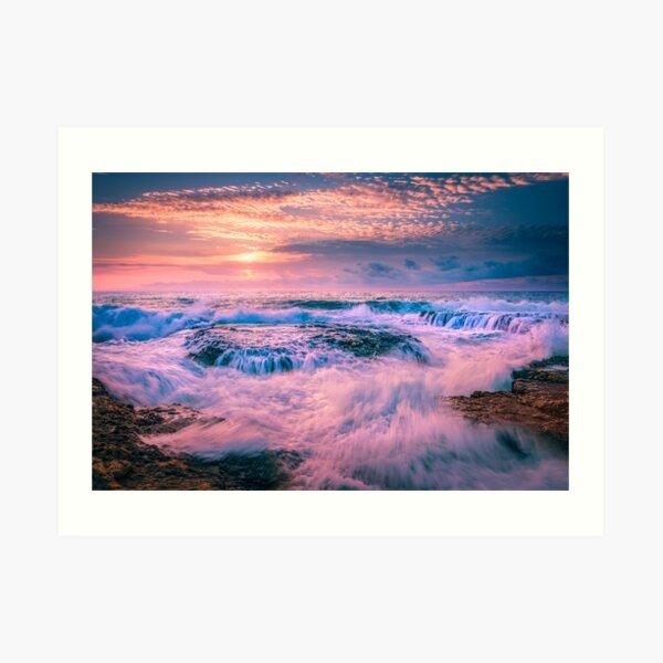 Washing machine waves and rocks Art Print