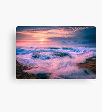Washing machine waves and rocks Canvas Print