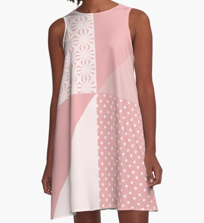 AFE Coral & Pink Abstract A-Line Dress