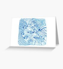 Blue Scribble  Greeting Card