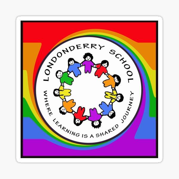 Londonderry Original Logo with Rainbow Swirl Sticker