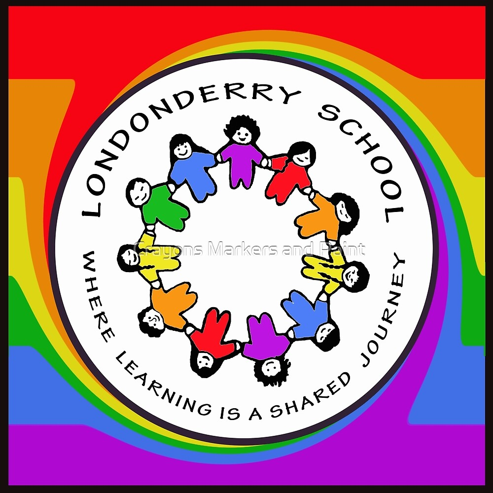 Londonderry Original Logo with Rainbow Swirl by Crayons Markers and Paint