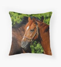 Lean on Me: A Touching Moment Between Friends Throw Pillow