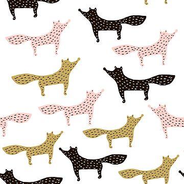 Foxes modern pattern by SolodkayaMarina
