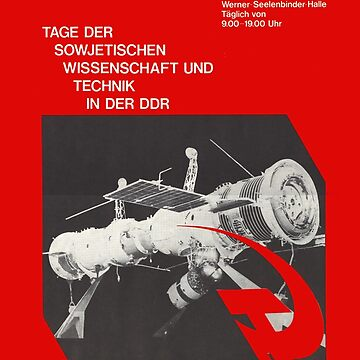 East German Soviet Rocket and Technic Exhibition 1970s, Berlin Propaganda Poster by RemoKurka