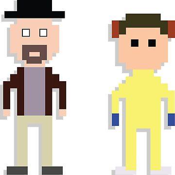 Breaking Bad 8-Bit Merchandise Walt and Jessie T-Shirt & Phone Case by tellytee