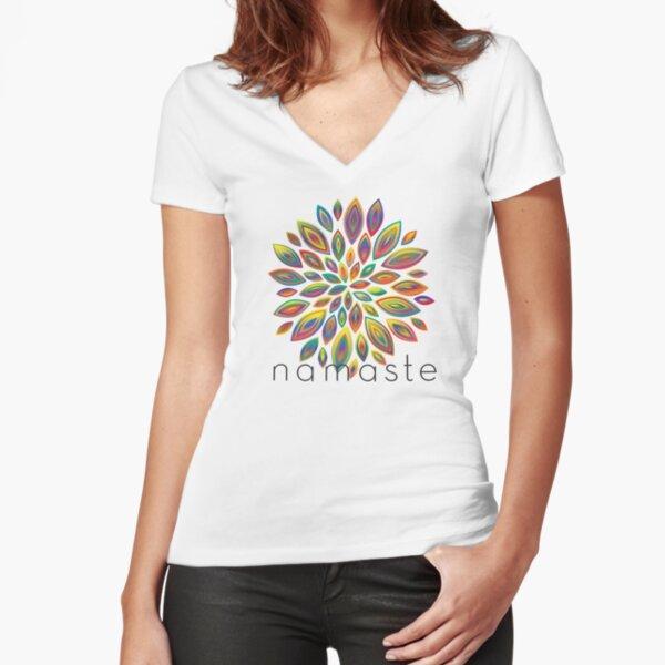 Namaste Flower Fitted V-Neck T-Shirt
